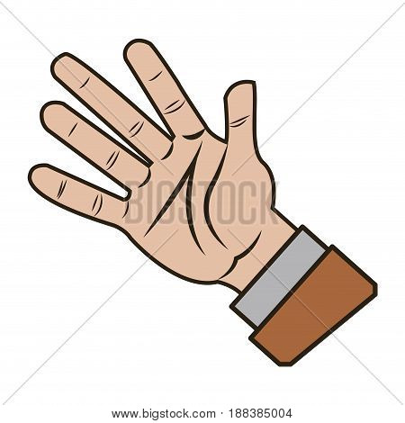 male palm hand gesture palm business icon vector illustration