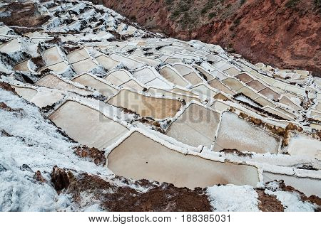 Salinas de Maras, Peru. Salt natural mine. Inca Salt pans at Maras, near Cuzco in Sacred Valley, Peru