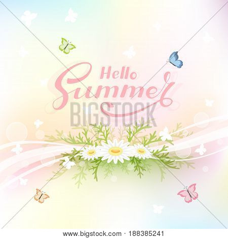 Colorful summer background with flowers and flying butterflies, illustration.