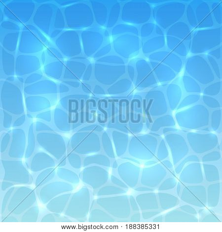 Sea or ocean water background with sun reflections. Blue water surface of the pool with ripples, illustration.