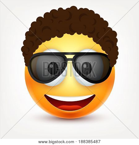 Smiley with glasses and hairs, smiling, happy emoticon. Yellow face with emotions. Facial expression. 3d realistic emoji. Funny cartoon character.Mood. Web icon. Vector illustration.
