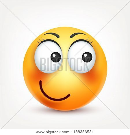 Smiley, smiling , happy emoticon. Yellow face with emotions. Facial expression. 3d realistic emoji. Funny cartoon character.Mood. Web icon. Vector illustration.