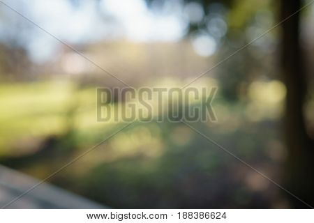 abstract green park or garden blurred background, real lens blur