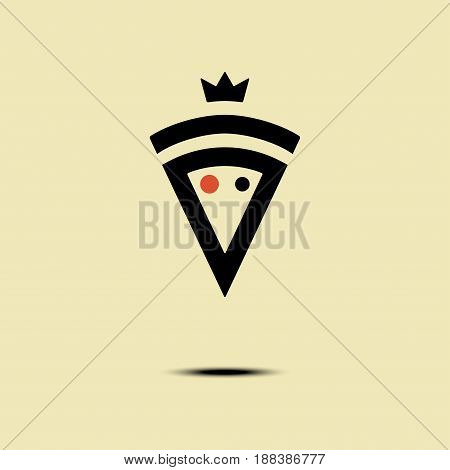 Pizza crowned vector logo, icon, symbol, emblem, sign. Graphic design element with a slice of pizza.