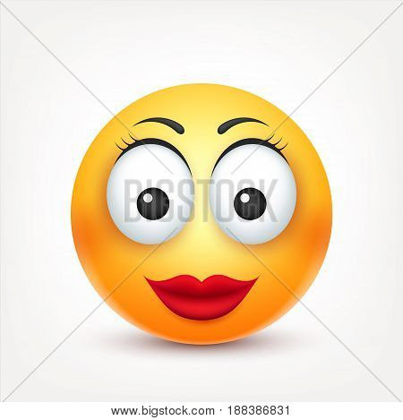 Smiley, smiling angry, sad, happy female emoticon. Yellow face with emotions. Facial expression. 3d realistic emoji. Funny cartoon character.Mood. Web icon. Vector illustration.