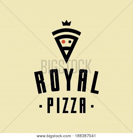 Royal pizza vector minimalism style logo, icon, emblem, sign. Graphic design element with a slice of pizza.
