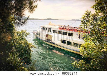 Romantic cruise lake italian ferry ship boat