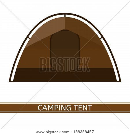 Camping tent vector icon. Tourist family tent isolated on white background in flat style