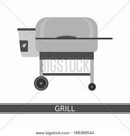 Portable grill vector icon. Barbecue grill in flat style isolated on white background