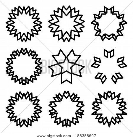 Sunbursts and borders collection. Outline vector illustration.