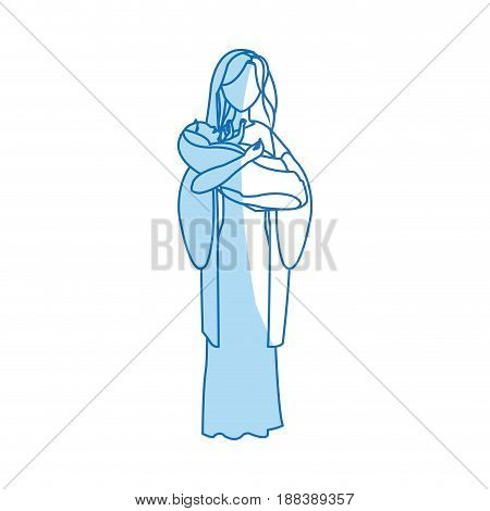 virgin mary and her holy baby religious catholicism vector illustration poster