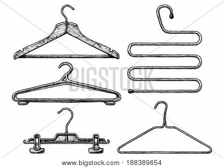 Vector black-and-white hand drawn illustration of clothes coat-hanger set in vintage engraved style. Wooden plastic and wire coathangers clamp for the hanging of trousers 5-level coat hanger. isolated on white background.