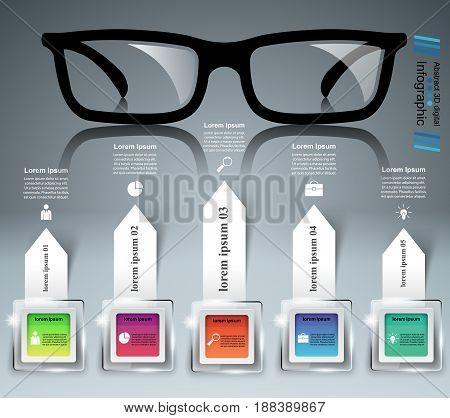 Glasses icon on the grey background. Business Infographics origami style Vector illustration.