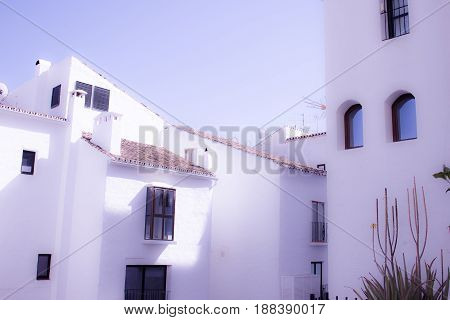 White houses. Traditional buildings. Puerto Banus, Marbella, Andalusia, Spain.
