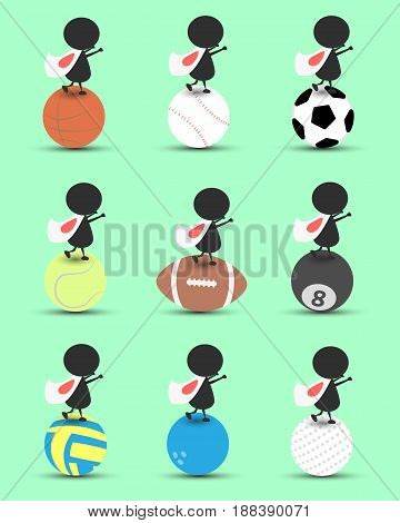 Black man character cartoon stand on sports ball and hands up overhead with wavy Japan flag and green background. Flat graphic.logo design.sports cartoon.sports balls vector. illustration. RGB color.
