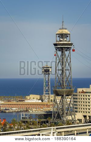 The red port cable in Barcelona.The official name is Transbordador Aeri del Port but it is often called the