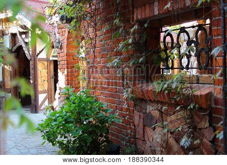 wall of red brick, covered with ivy, in the old town
