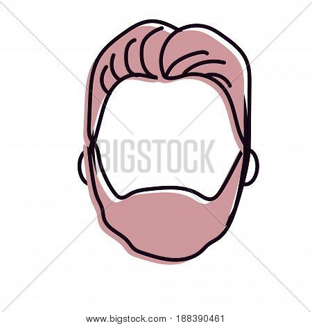 nice man face with haistyle and beard, vector illustration