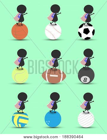 Black man character cartoon stand on sports ball and hands up overhead with wavy Malaysia flag and green background. Flat graphic.logo design.sports cartoon.sports balls vector. illustration. RGB color.