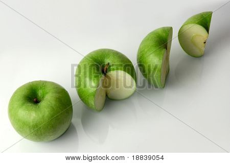 Four green apples percentage concept
