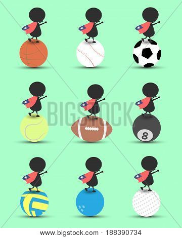 Black man character cartoon stand on sports ball and hands up overhead with wavy Taiwan flag and green background. Flat graphic.logo design.sports cartoon.sports balls vector. illustration. RGB color.