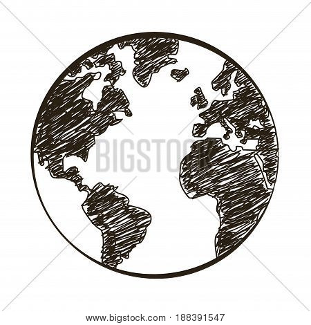 earth planet, world globe travel concept engraving vector illustration