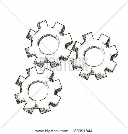 gear mechanical collaboration team, engraving design vector illustration