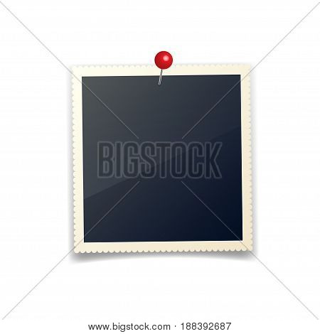 Old photo card with pushpin, carved sides, frame, film. Retro, vintage photograph with shadow.Digital snapshot, image.Photography art.Template or mockup for design.White background.Vector.