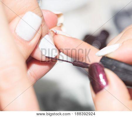 A manicure in beauty salon . A photo
