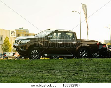 RASTATT GERMANY - APR 13 2017: Nissan Navara Frontier for sale at car dealer. The Nissan Navara is the name for the D22 and D40 generations of Nissan pickup trucks sold in Asia and Europe