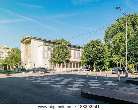STRASBOURG FRANCE - MAY 25 2017: Grande synagogue de la Paix in Contades Park - the biggest synagogue in Strasbourg and Bas-Rhin Alsace being protected by police van and multiple surveillance camera