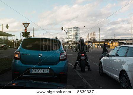 KEHL GERMANY - FEB 3 2017: Dacia Sandero and other cars waiting at red light in German city of Kehl