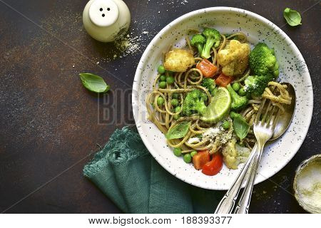 Wholewheat Organic Pasta With Vegetables.top View With Copy Space.