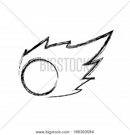 comet flying asteroid solar system. astronomical object, burning vector illustration