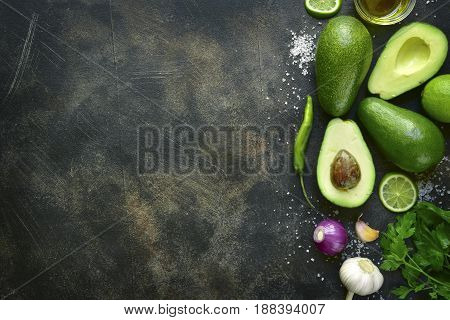 Ingredients For Making Traditional Mexican Dip Guacamole.top View With Copy Space.