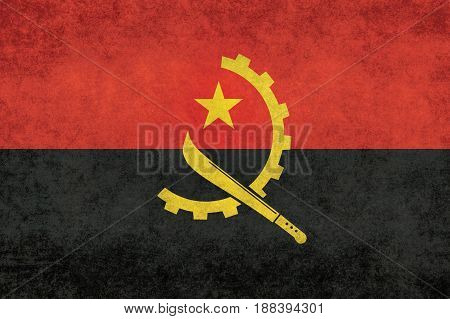 Angolan national flag with grungy distressed textures