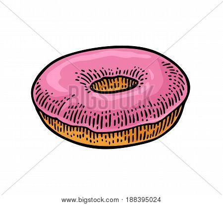 Donut. Vector color hand drawn vintage engraving illustration for poster, label and menu bakery shop. Isolated on the white background.