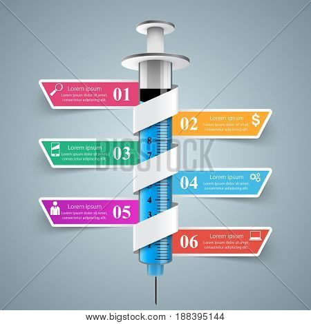 Business Infographics origami style Vector illustration. Infographic syringe icon.