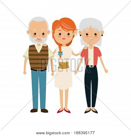 family people mother with gradpa and grand mom vector illustration