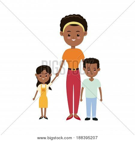 afro american mother together children smiling vector illustration