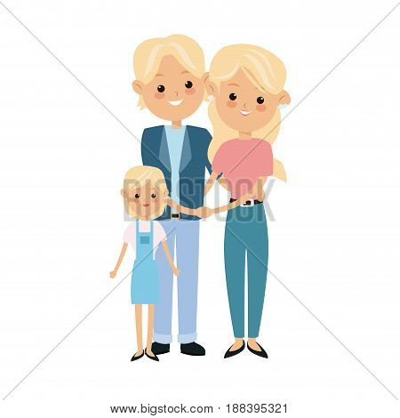 cartoon blonde couple grandparents and granddaughter vector illustration