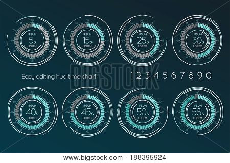 Futuristic digital time easy editing scale. Set of Infographics elements. Vector illustration.
