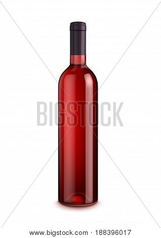 Bottle of wine isolated on white background. Glass bottle of red alcohol drink, wine or sweet beverage with copy space. Bar, restaurant wine card and advertising design