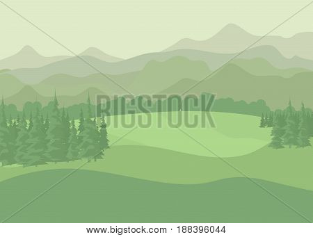 Summer rural landscape.  Trees on a hill, background of meadows.  Flat style vector