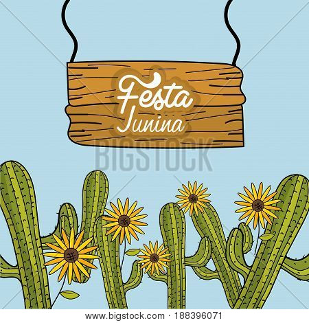 festa junina with cactuses and sunflowers, vector illustration