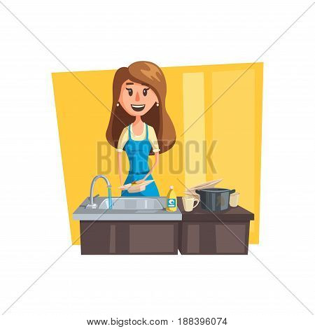 Washing dishes cartoon icon. Woman housewife wearing apron washing dishes, pan and cup in kitchen sink with dish soap and sponge. Household chore, house cleaning themes design