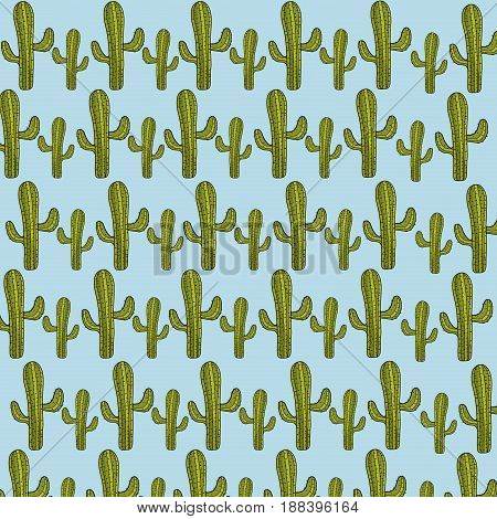 cactus desert botanic plant background, vector illustration