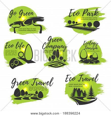 Eco green isolated icon set. Ecology sustainable business company, travel agency, tourism, eco life and go green lifestyle symbol design with green tree nature landscape of park and forest