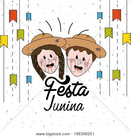festa junina with flags party and brazilian head with hat, vector illustration