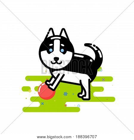 Cute Husky play with red ball vector illustration in the style of line art.